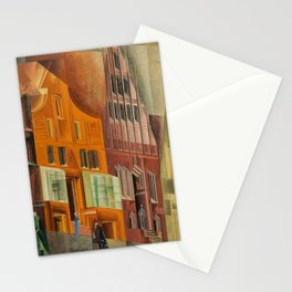 The City, Gables I, cityscape street scene painting by Lyonel Feininger Stationery Cards