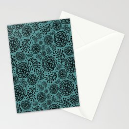 Flowery black Stationery Cards