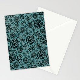 Flowery black Stationery Cards