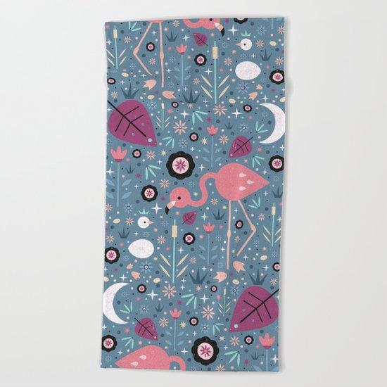 Flamingo & Chick  Beach Towel