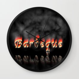 Barbeque Text On Fire Wall Clock