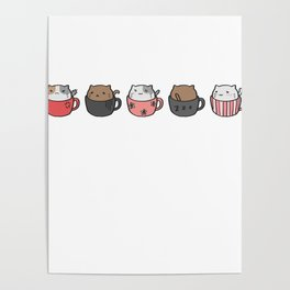 Cat Cups Poster