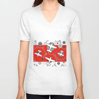 airplanes V-neck T-shirts featuring airplanes in red by Isabella Asratyan