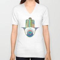 hamsa V-neck T-shirts featuring HAMSA by Heaven7