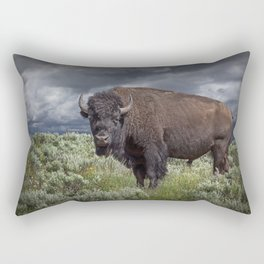 American Buffalo Bison in Yellowstone National Park Rectangular Pillow