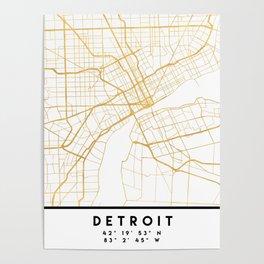 DETROIT MICHIGAN CITY STREET MAP ART Poster
