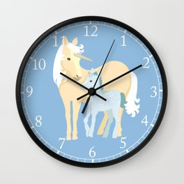Unicorns. Mom and baby Wall Clock