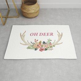 Fun colourful antlers of deer and flowers Rug