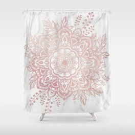 Queen Starring of Mandala-White Marble Shower Curtain