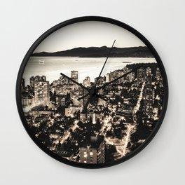Voyeuristic 1378 Vancouver Cityscape English Bay Twilight Wall Clock