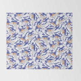 Japanese peonies pattern - blue and orange Throw Blanket