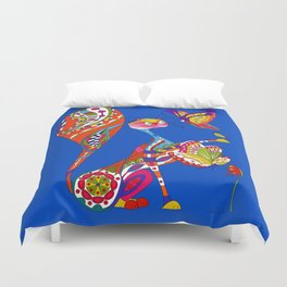 Cat and two butterflies Duvet Cover