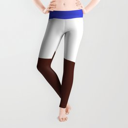 Blue White Brown Abstract Leggings