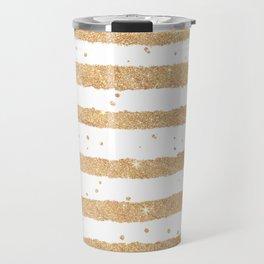 Elegant white faux gold glitter geometrical stripes Travel Mug