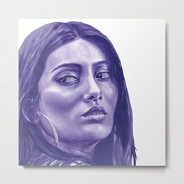 Purple elegant monochrome female portrait. Metal Print