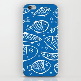 Fish blue white iPhone Skin