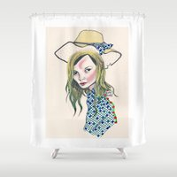 kate moss Shower Curtains featuring Kate Moss by Sindecualo