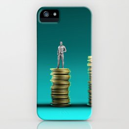 Finance Wealth Increase with Business People Standing on Chart of Gold Coins iPhone Case
