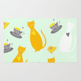 Cool Cats Coffee and Chessse party Artwork Rug