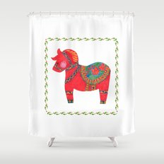 The Red Dala Horse Shower Curtain