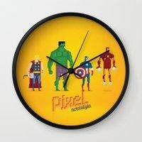 super heroes Wall Clocks featuring Super Heroes - Pixel Nostalgia by Boo! Studio