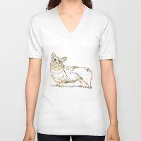 corgi V-neck T-shirts featuring Corgi!!!! by katieWalkerDesigns