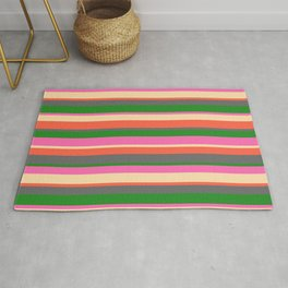 Eye-catching Hot Pink, Tan, Red, Dim Gray, and Forest Green Stripes Pattern Rug