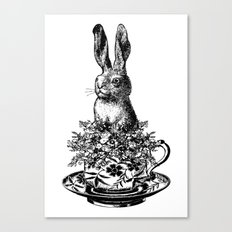 Rabbit in a Teacup | Black and White Canvas Print