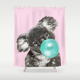 Playful Koala Bear with Bubble Gum in Pink Shower Curtain
