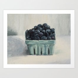 blueberries in a paper crate Art Print