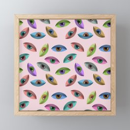 Eye pattern - pink Framed Mini Art Print