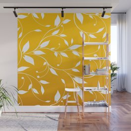 FLOWERY VINES | yellow white Wall Mural