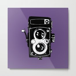 Big Vintage Camera Love - Black on Purple Background Metal Print