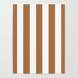 Metallic bronze - solid color - white vertical lines pattern Poster