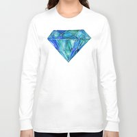 geode Long Sleeve T-shirts featuring Aquamarine by Cat Coquillette