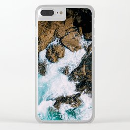 Ocean Waves Crushing On Rocky Landscape, Drone Photography, Aerial Landscape Photo, Ocean Wall Art Clear iPhone Case