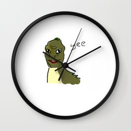 the crappy yee dinosaur which i drew on ms paint with a mouse Wall Clock