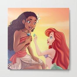 Moana and Ariel Metal Print