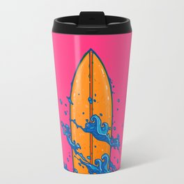 Surf Board with the waves Travel Mug