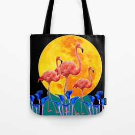 BLACK PINK FLAMINGOS FULL MOON BLUE LILIES Tote Bag
