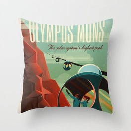 SpaceX Mars tourism poster / Olympus Mons Throw Pillow