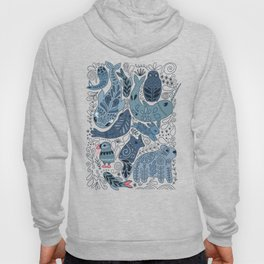 Arctic animals. Polar bear, narwhal, seal, fox, puffin, whale Hoody