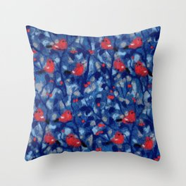 Bullfinches, birds in the trees, fiber art, wool painting Throw Pillow