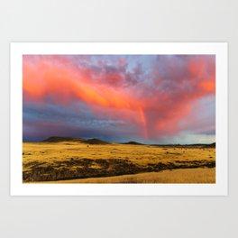 Orange Virga with Rainbow on a Field Art Print