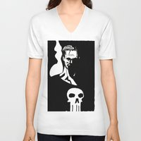 punisher V-neck T-shirts featuring Inktober Punisher by MeatyElbow