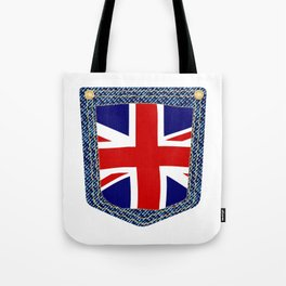 Union Jack Denim Pocket Tote Bag