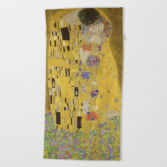The Kiss by Gustav Klimt Beach Towel