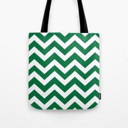 Dartmouth green - green color -  Zigzag Chevron Pattern Tote Bag