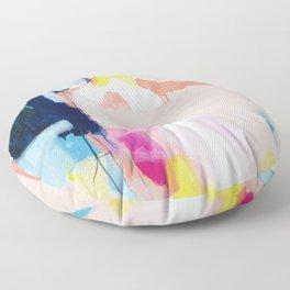 Passions II - abstract art in navy, blush, teal, white, and yellow Floor Pillow