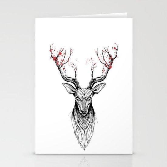 Deer tree (black stroke version for t-shirts) Stationery Cards